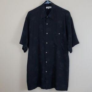 Pierre Cardin Navy Blue Palm Tree Hawaiian Shirt M